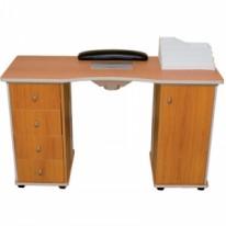 Стол для маникюра деревянный, двухтумбовый с пылесосом
