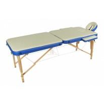 Массажный стол складной деревянный JF-AY01 2-х секционный М/К (беж/синий)