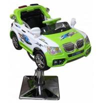 Детское парикмахерское кресло машинка BMW-Полиция зеленая