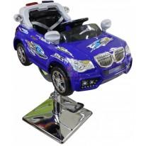 Детское парикмахерское кресло машинка BMW-Полиция синяя