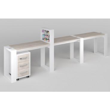 """Трёхместный маникюрный стол """"Matrix"""" с подставкой для лаков и тумбой"""